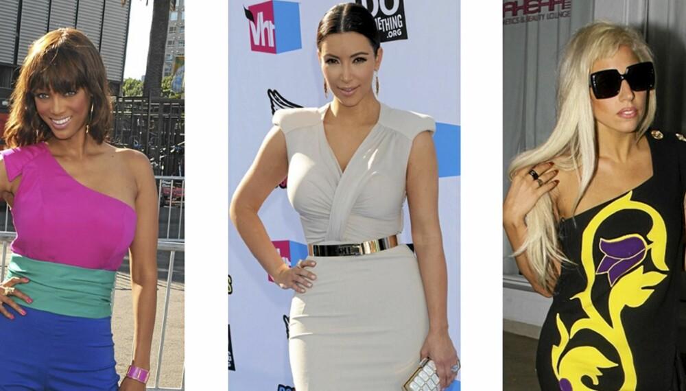 STEM SELV: Lek motepoliti og stem på antrekken til kjendisene. Her Tyra Banks, Kim Kardashian og Lady Gaga.