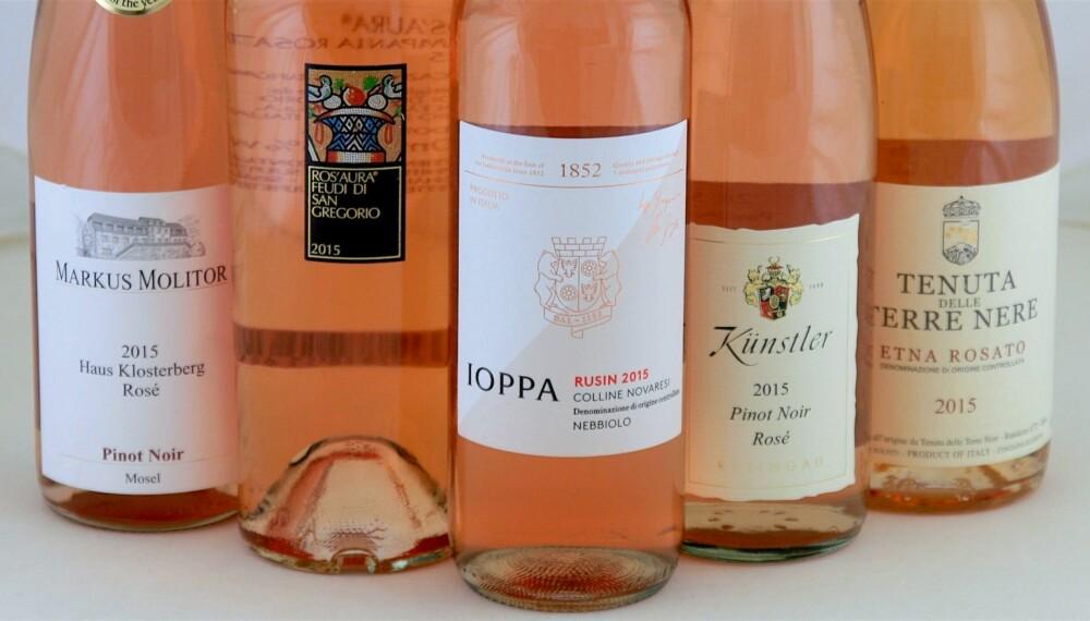 FRISKE OG FRUKTIGE: Fem deilige roséviner.