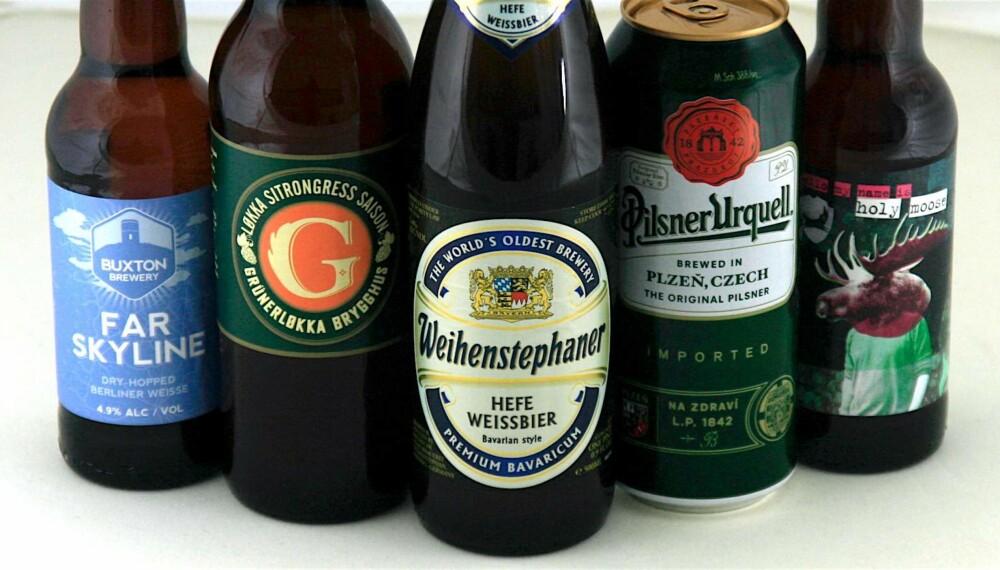 SOMMERØL: Fem forskjellige øl i fem ganske så forskjellige stilarter.