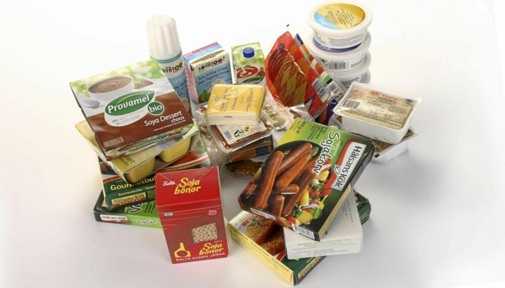 STORT UTVALG: Det finnes mange produkter utvunnet av soyabønnen på markedet. Hovedsakelig skal de erstatte kjøtt ¿ og meieriprodukter. Hvor sunne er de egentlig?