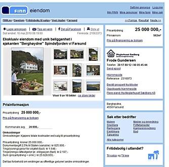 DYREST: Den dyreste fritidsboligen som var til salgs på Finn.no i slutten av juni var dette stedet ved Farsund. Pris: 25 000 000 kroner.
