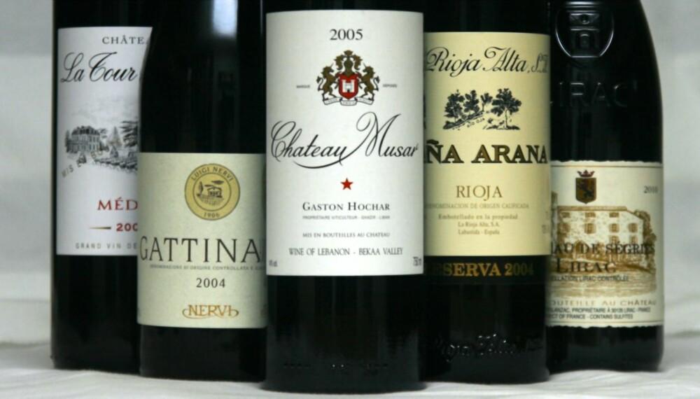 LAMMEVINER: Her finner vi både Rioja, Bordeaux, Rhône, Piemonte og til og med Libanon representert.