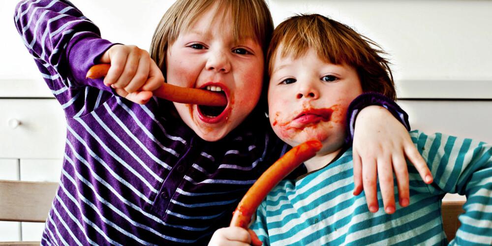 PØLSE-EKSPERTENE: Thomas (5) og Kristian Nielsen sier ikke nei takk til et par meter wienerpølser med ketsjup på.