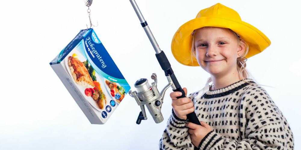 COOP PÅ KROKEN: Emma har fisket testvinneren.