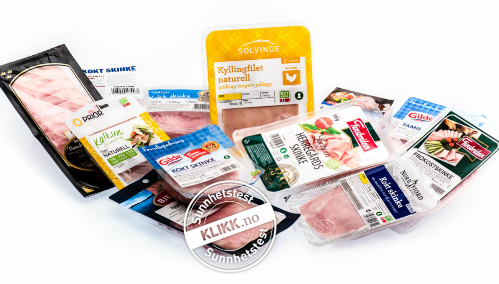 TEST AV KJØTTPÅLEGG: I vår test har vu vurdert 10 ulike typer kokt skinke og 2 kylling/kalkunpålegg.