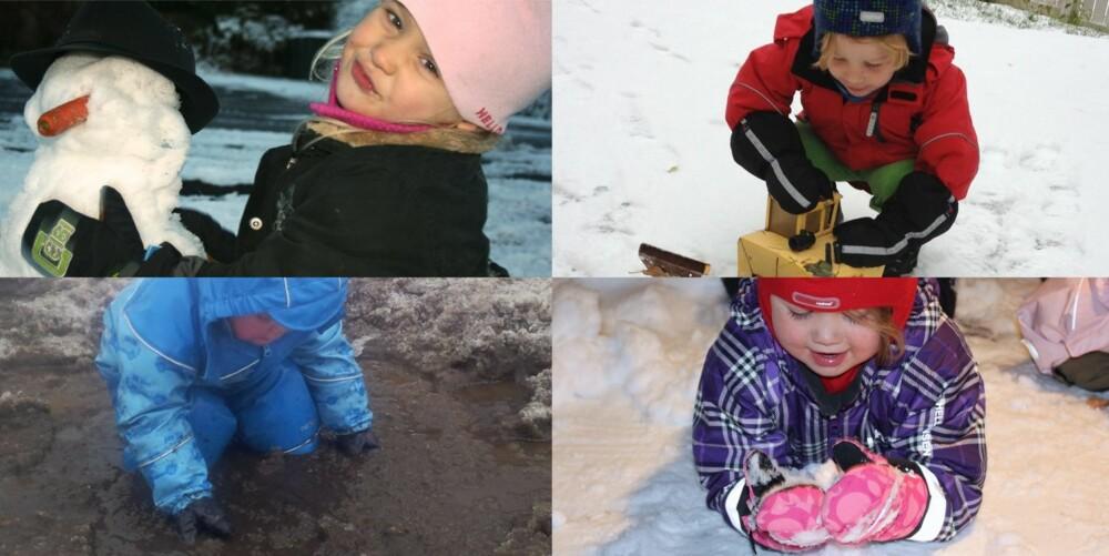 TEST AV VINTERVOTTER: Silje Trollsas, Sverre Sørli, Mathias Thyve og Mille Nordlien hardtester vottene.