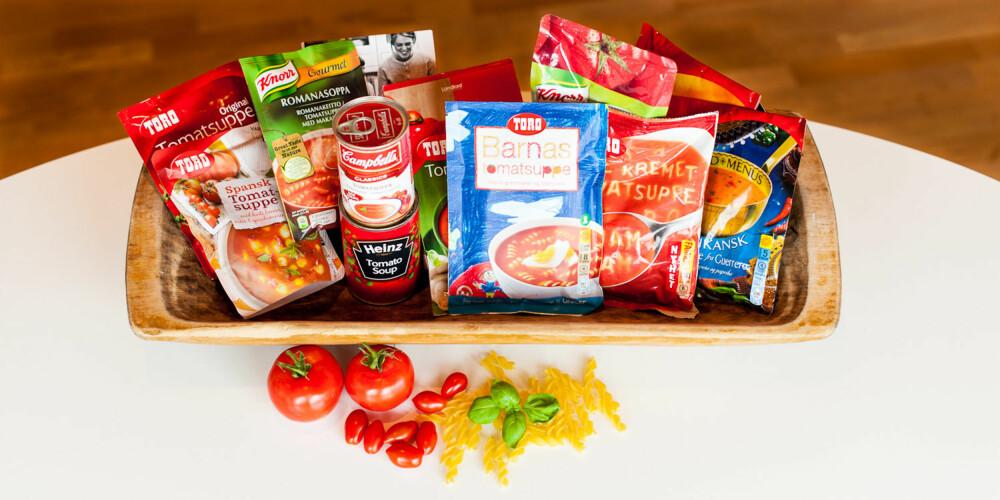 HELE TESTEN: 12 ulike typer tomatsuppe - noen tørre posesupper, andre ferdiglaget fra produsenten.