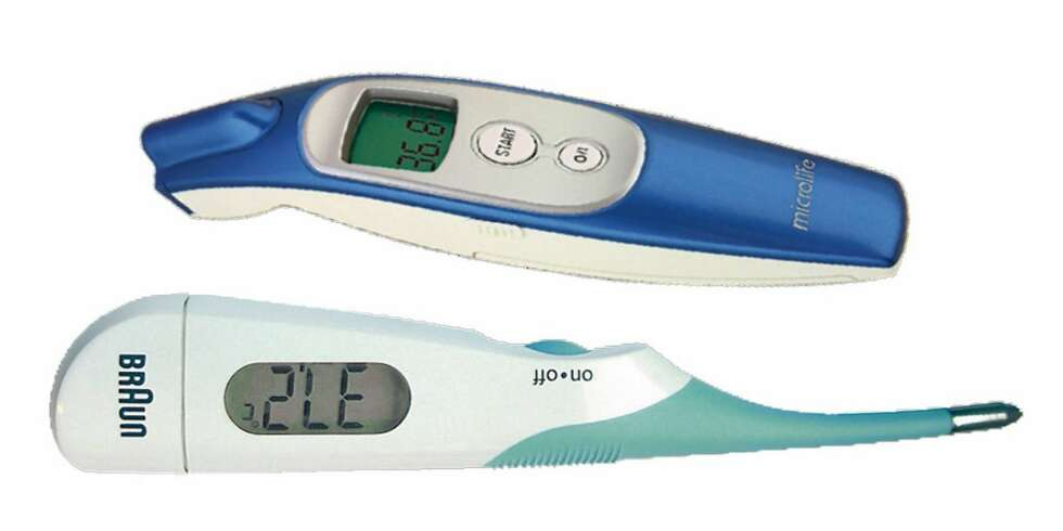 BEST I TEST: Braun High Speed (billig, digitalt) og Microlife Non Contact (pannetermometer).