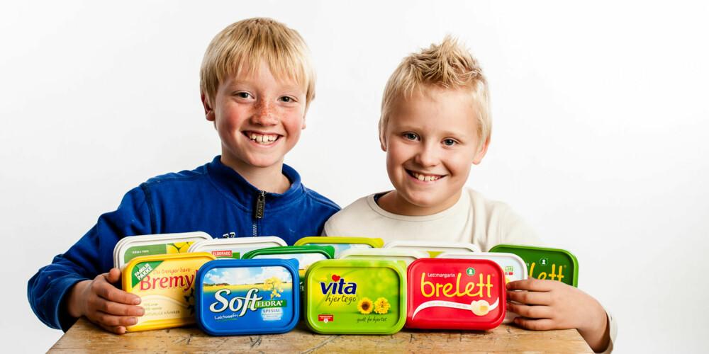 HELE SMØRJA: Åtteåringene Amandus og Tobias har kontroll på alle typene i vår test av smør- og margarinprodukter.