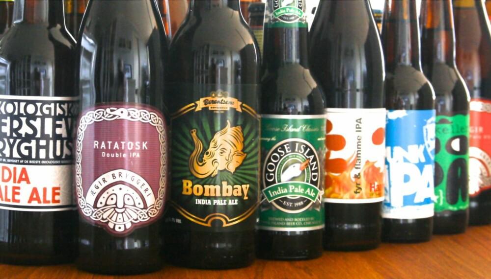 PALE ALE OG IPA: Ølene hadde en alkoholprosent fra 5,6 til 14,0.