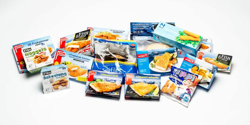 TESTET: 18 ulike typer fiskepinner og panerte fiskeprodukter.