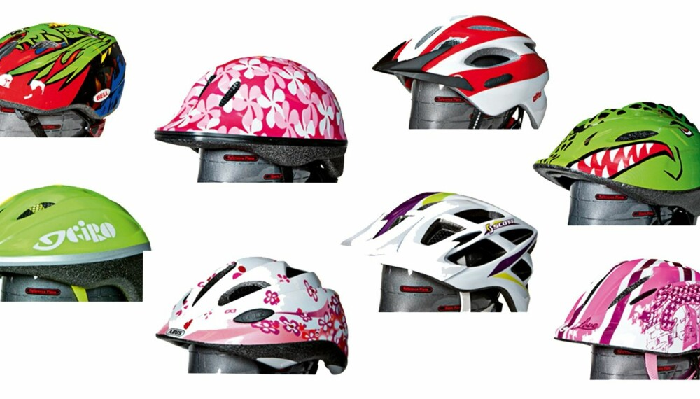 IKKE LIKE GODE: Tre av disse hjelmene består ikke sikkerhetstesten.