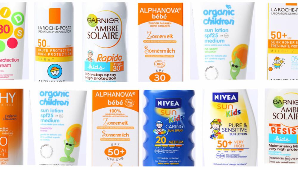 TEST AV SOLKRM: Foreldre & Barn sin test av solkrem til barn avslører at fem av dem inneholder tvilsomme ingredienser.