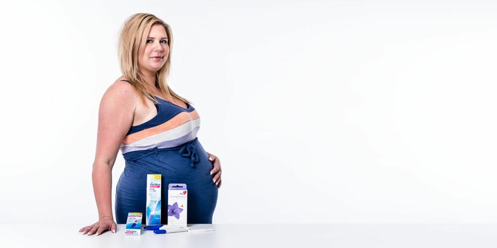 TESTET GRAVIDITETSTESTER: Susanna Leinonen-Roeim (28) testet tre ulike graviditetstester for Foreldre.no. Alle ga positivt utslag, men brukervennligheten var forskjellig.