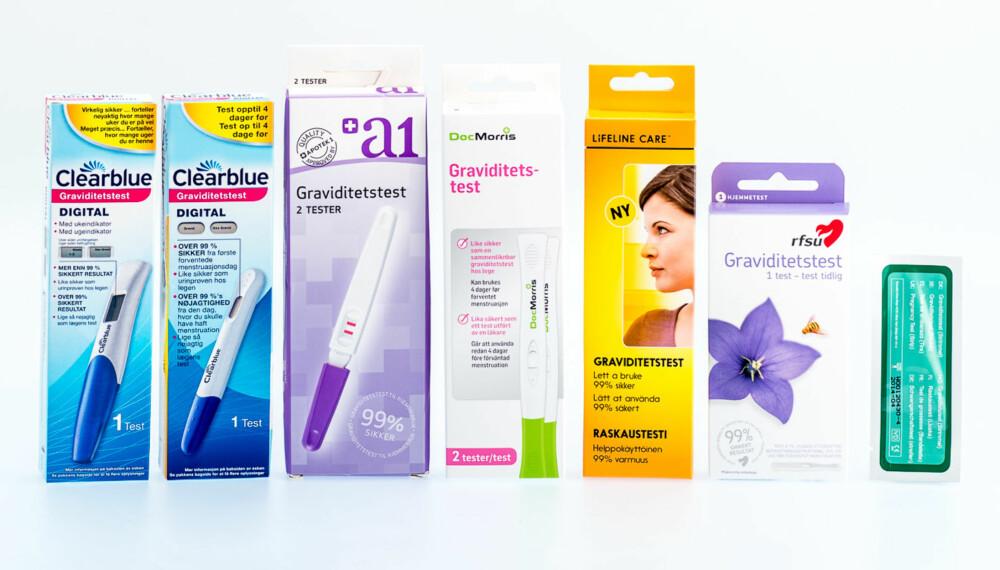 TEST AV GRAVIDITETSTESTER: Vi har testet sju forskjellige typer graviditetstester som finnes til salgs på apotek, dagligvare og på nett.