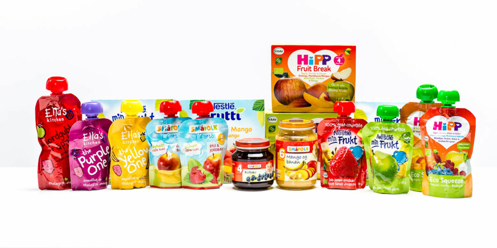 TEST AV FRUKTMOS OG SMOOTHIE: Vi testet 13 ulike typer fruktbasert barnemat som selges i dagligvarebutikker.