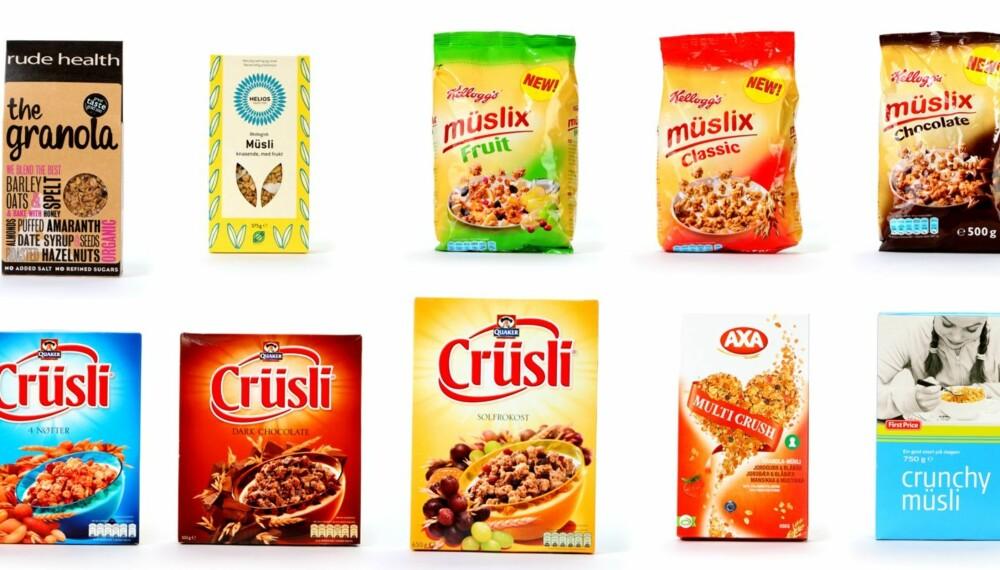 GRANOLA: DinKost.no har vurdert næringsinnholdet i 10 typer granola frokostblanding.