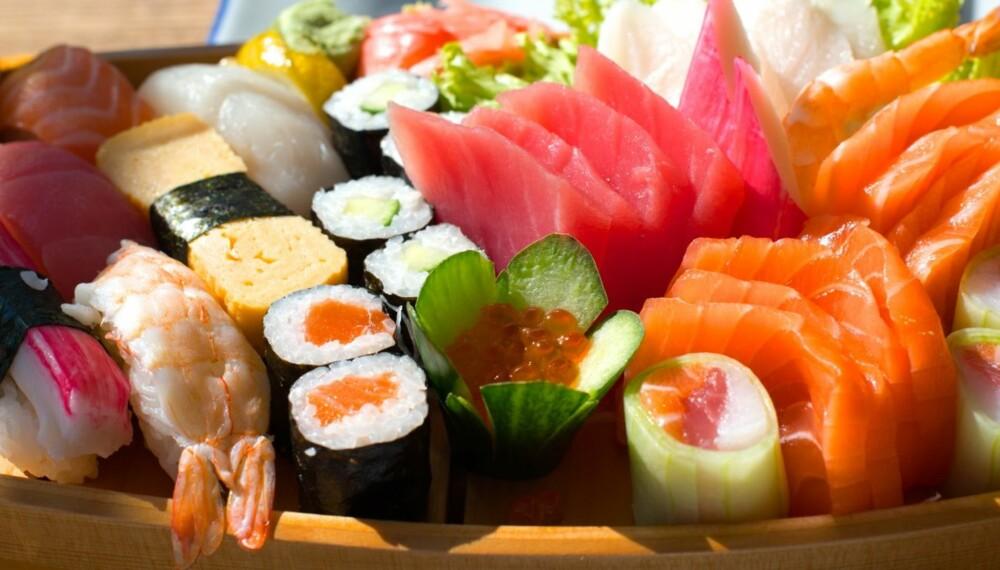 ØL TIL SUSHI: Lyse øl uten for markant bitterhet passer best til sushi.