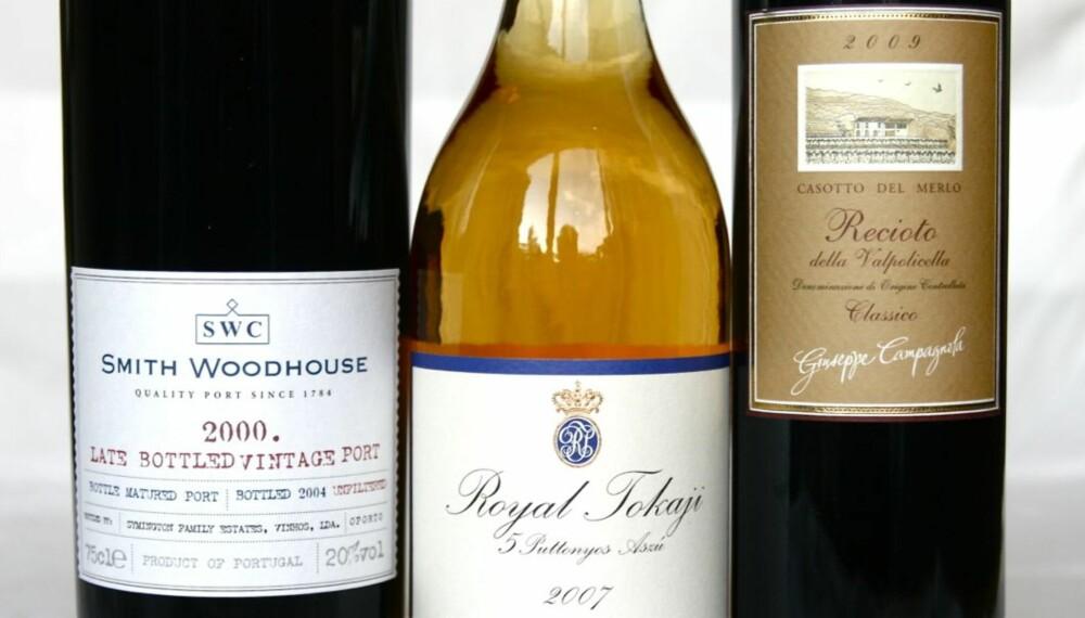 SØTE JULEVINER: Disse tre vinene skulle dekke det aller meste av desserter, kaker og annet knask i julen.