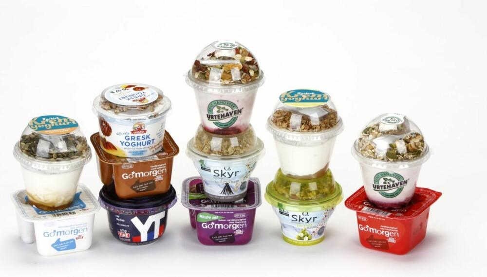 VARIASJON: Det er stor variasjon i hvor sunne müsliyoghurtene er.