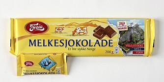 FORSKJELL: Det er stor forskjell på om du velger en liten Eventyrsjokolade framfor en stor plate Melkesjokolade. For å forbrenne 200 gram melkesjokolade må du gå vanlig i fem timer. Med den lille sjokoladen holder det med en halvtime.