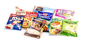 TEST AV POTETMOS: 6 pulverprodukter og 3 fryste potetmosprodukter er med i testen.