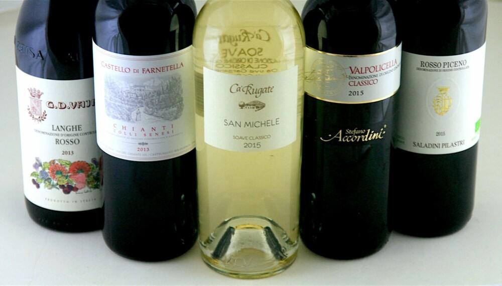 PIZZAVINER: Fire røde og én hvit - alle fra Italia.