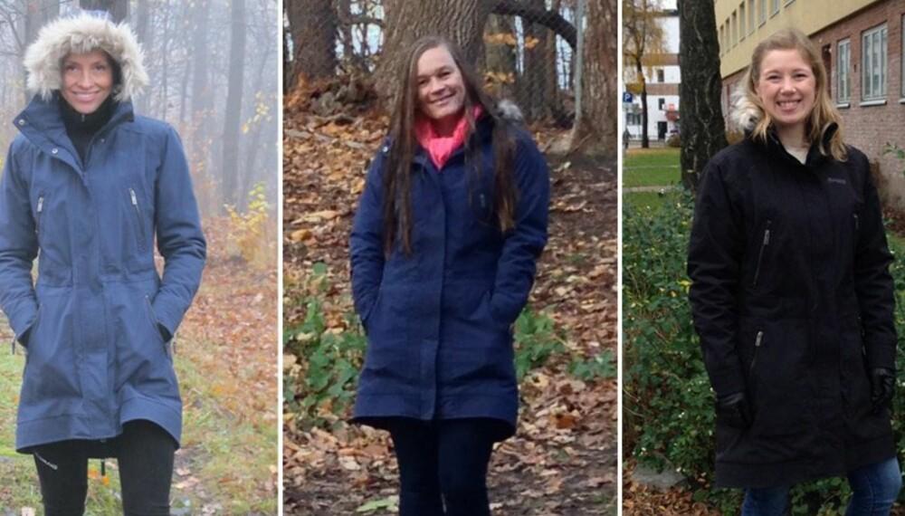 TESTERNE: Malin Iren Haug, Maren Haugeto og Heidi Camilla Raaberg har testet 12 parkaser for kaldt, surt og vått vær.