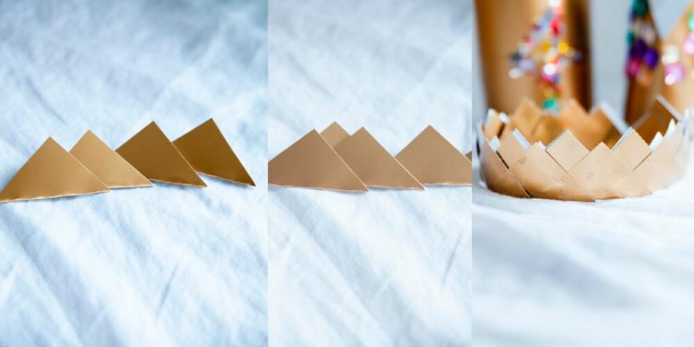 LIMES PÅ REMSE: Brett kvadratene til trekanter og lim dem sammen til en remse. Lim deretter nye trekanter i mellom de du har i remsen.