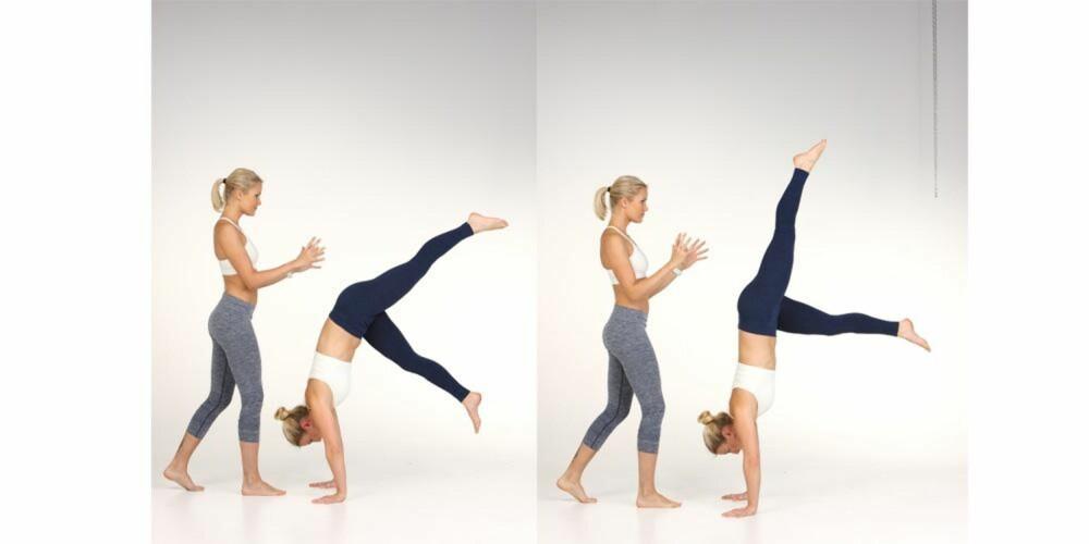 ØVELSE 1: Steg for steg til å stå på hendene - Tine Oppedal og Hilde S. Markussen viser frem øvelse nummer 1.