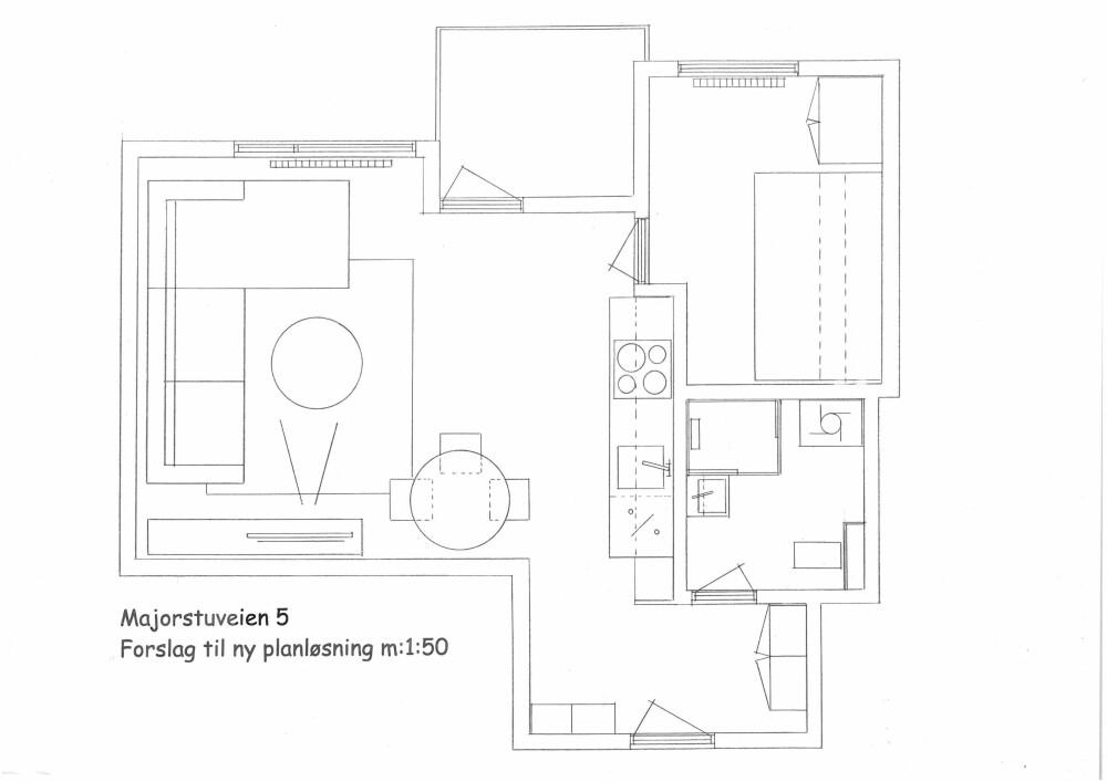 Ny planløsning. Kjøkkenet ble trukket inn i stuen, og soverommet ble lagt der det gamle kjøkkenet lå.