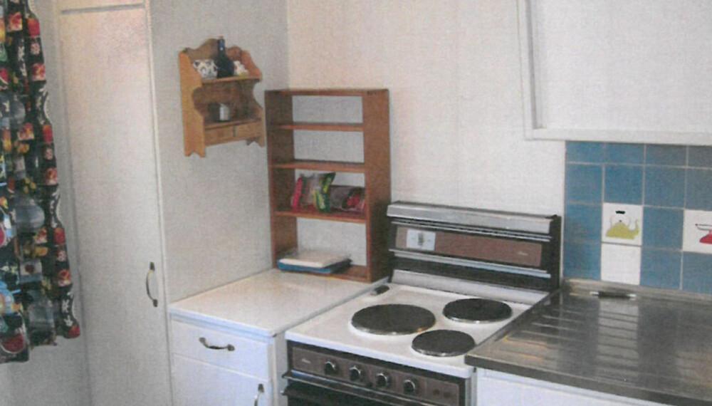 Utdatert. Det gamle kjøkkenet kan neppe beskrives som et drømmekjøkken.