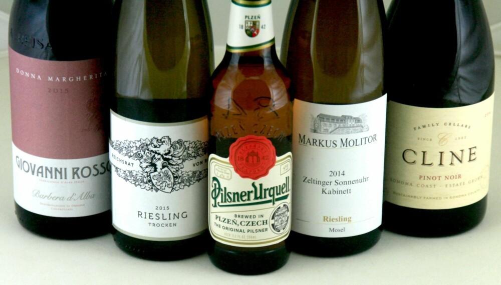 TIL BÅDE SALTET OG RØYKT: Øl, rødvin og hvitvin.