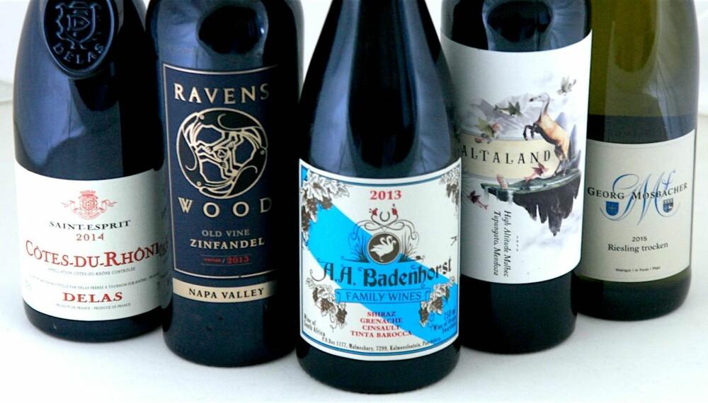 TIL GRILLING: Én hvitvin og fire rødviner.