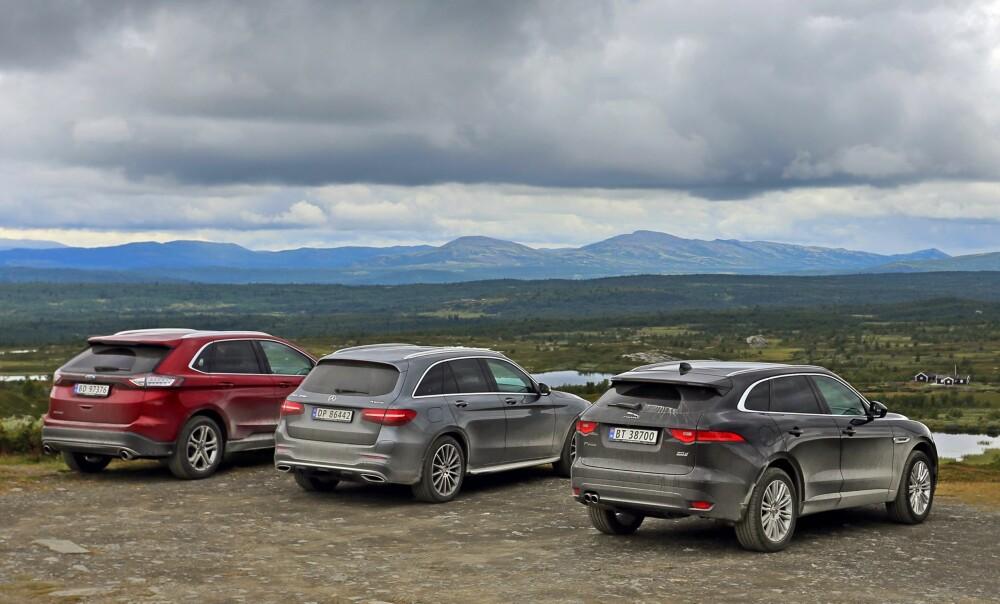 FINT SKUE: De tre SUVene egner seg ypperlig som transportmiddel til og fra hytta på fjellet.