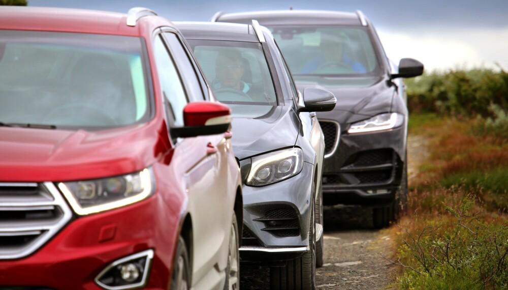 GODE TING: Alle gode ting er tre, heter det. Vi tok med Ford Edge, Mercedes-Benz GLC 350e og Jaguar F-Pace til fjells og satt dem skikkelig på prøve.