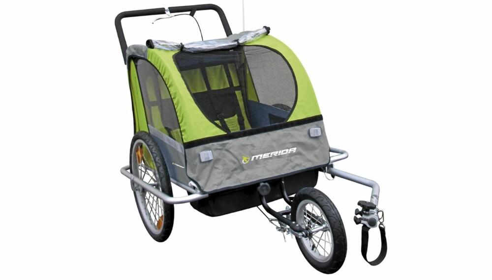 FOR TO: I denne sykkelvognen fra Merida er det plass til to barn.