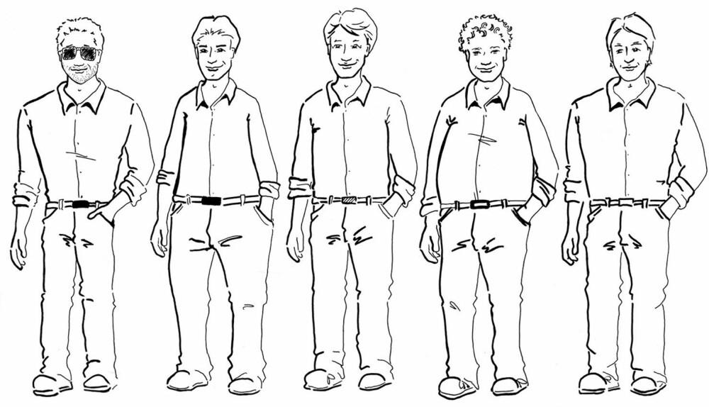 DE FEM VANLIGSTE KROPPSFASONGENE: Fra venstre: V-form, A-form, parallell, oval og trapes.