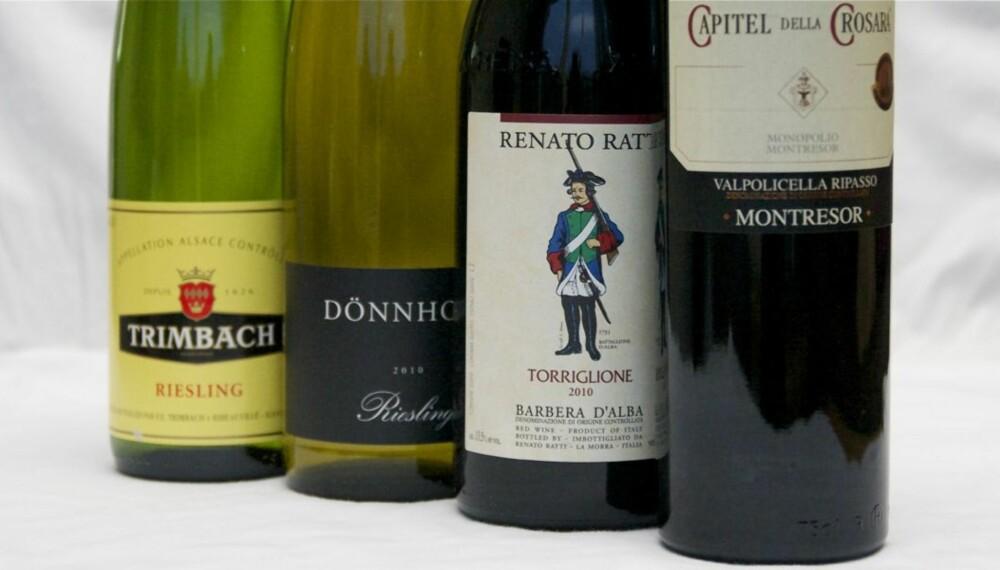 VIN TIL JULEMAT: Disse fire vinene dekker opp absolutt alt du trenger, bortsett fra dessertene.