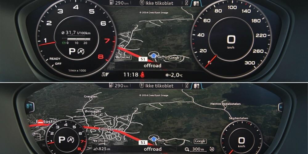 TO VALG: Den 12,3 tommer store skjermen bak rattet gir deg flere visningsvalg. Skal du navigere, kan turteller og speedometer krympes slik at kartet kommer tydeligere fram.