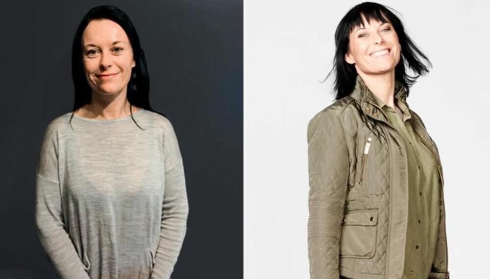 FØR OG ETTER: Anita synes hun hadde grodd fast i en kjedelig stil og ønsket hjelp til å få en trendy stil. Med ny frisyre og i vårens hotteste farge (og jakke) er trebarnsmoren kjempefornøyd med resultatet.