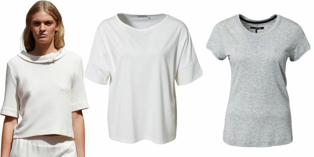 PASSER TIL ALT: Fra venstre: T-skjorte fra T by Alexander Wang, kroner 1395. T-skjorte fra Rag & Bone, kroner 699.