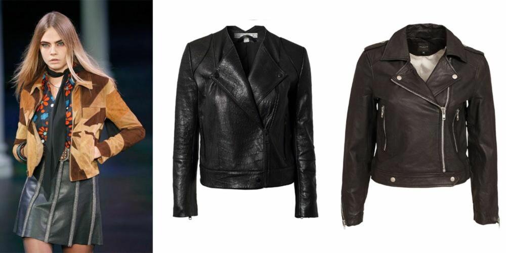 RØFFER OPP: Fra venstre: Skinnjakke fra Dagmar, kroner 5999. Skinnjakke fra Selected Femme, kroner 2300.