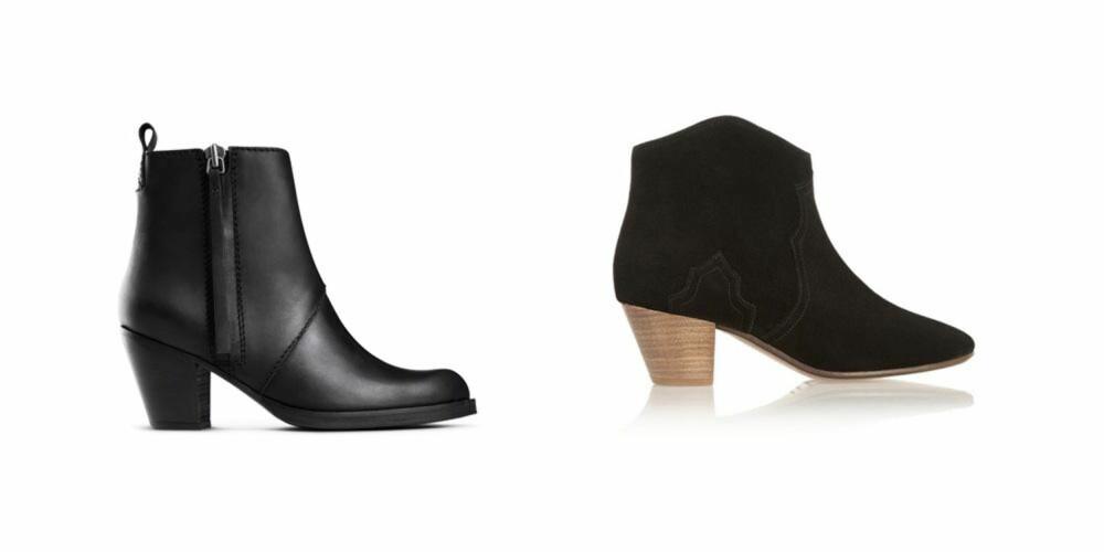 PÅ TÅHEV: Acne Pistol Boots, kroner 3200. Isabel Marant, kroner 3500.