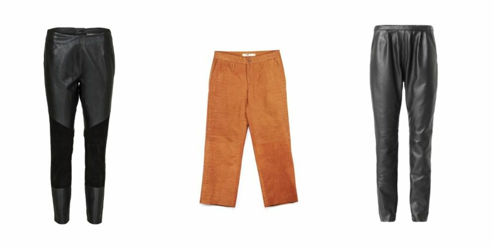 SKINN: Fra venstre: Baggy skinnbukser fra Custommade, kroner 2499. Beige skinnbukser fra By Malene Birger, kroner 1399.  Skinny tights fra Hope, kroner 1900.