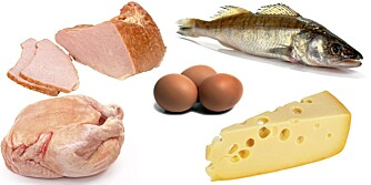 NED I VEKT: Her er eksempler på lavkarbo-mat: Kylling, fisk, egg, ost og skinke.