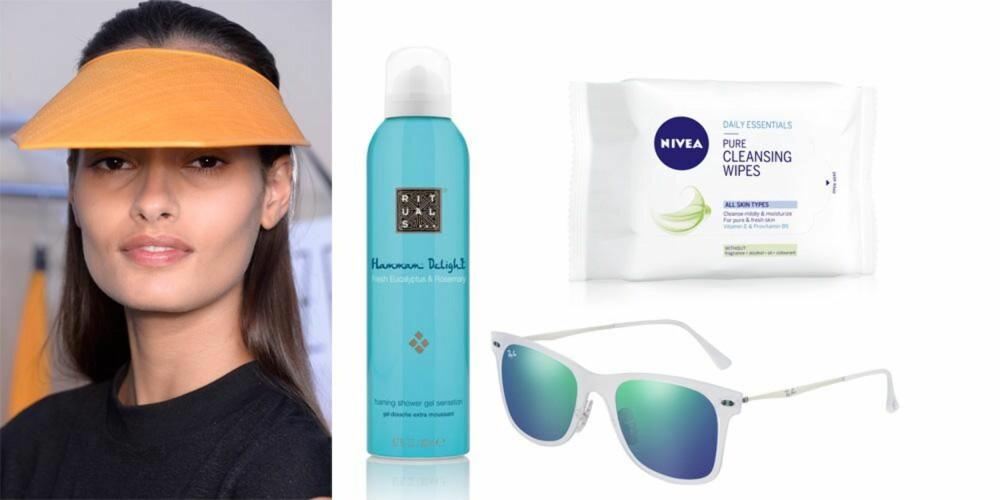 SPORTY: Solbriller fra Ray-Ban, kr 2050. Foaming Shower Gel Sensation fra Rituals, kr 85. Pure Cleansing Wipes fra Nivea, kr 50.