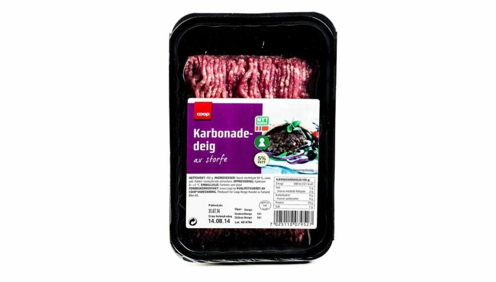 TEST AV KARBONADEDEIG: Coop karbonadedeig av storfe.