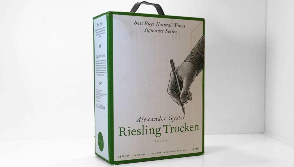 Test av hvit pappvin: Signature Series Gysler Riesling Trocken
