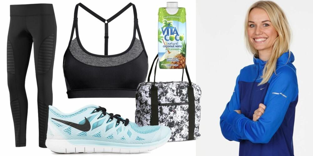 KARINES FAVORITTER: Yogaveske fra H&M, kr 199. Kokosvann, kr 25.Sports-BH fra H&M, kr 149 Tights fra Reebok, kr 500 Nike Free 5.0 fra Nelly.com, kr 1095